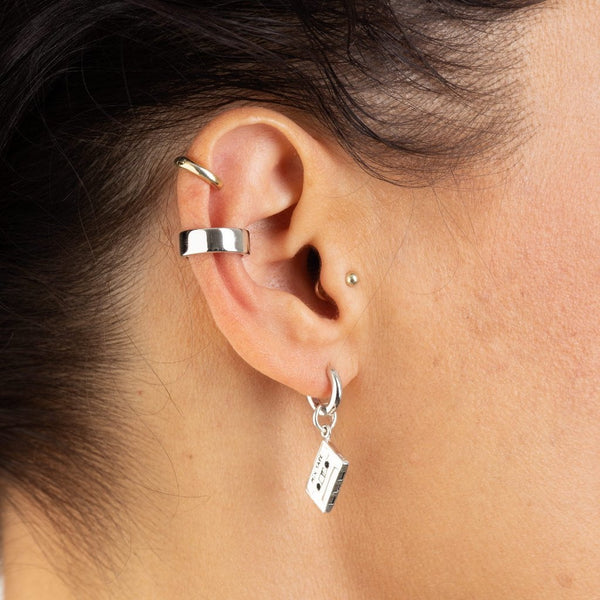 Silver Mix Tape Huggie Hoop Earring (Single Earring)