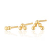 Gold Plated Solder Dot Bead Set of 3 Single Earrings