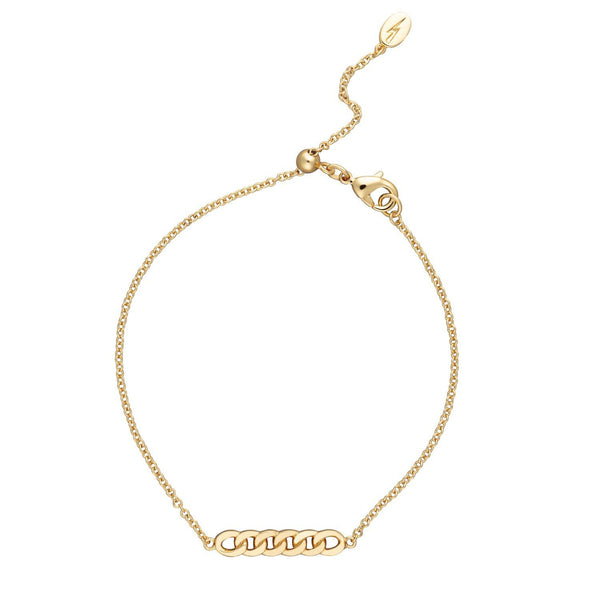 Gold Plated Chain Reaction Bracelet with Slider Clasp