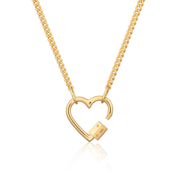 Gold Plated Heart Carabiner Curb Chain Necklace by Scream Pretty