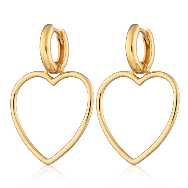 Gold Plated Heart Hoop Earrings by Scream Pretty
