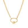 Gold Plated Oval Carabiner Curb Chain Necklace by Scream Pretty