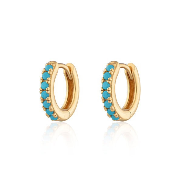 Huggie Hoop Earrings With Turquoise Stones