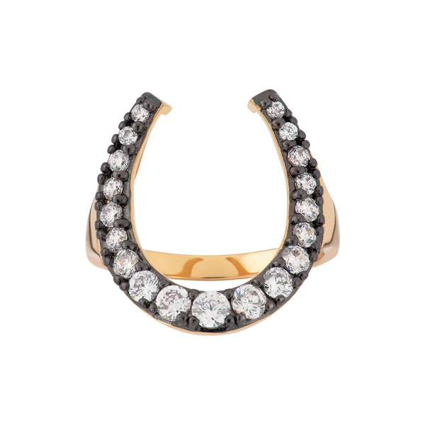 Black Horseshoe Ring with Clear Stones