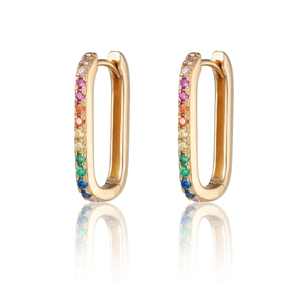 Oval Huggie Hoop Earrings with Rainbow Stones - Scream Pretty