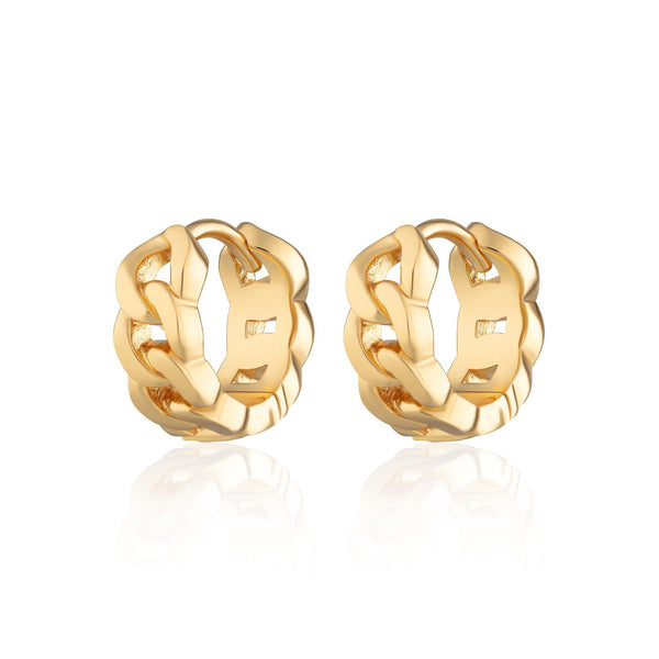 Gold Chain Reaction Huggie Hoop Earrings by Scream Pretty