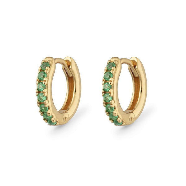 Huggie Hoop Earrings with Green Stones - Scream Pretty
