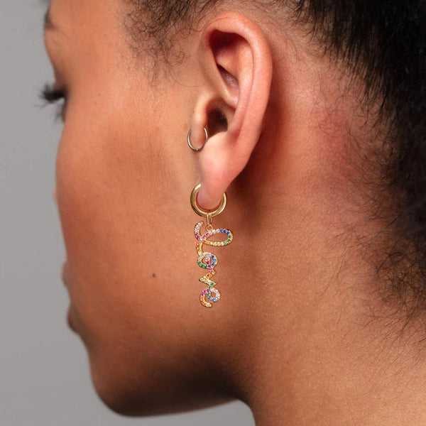Rainbow Love Single Huggie Earring