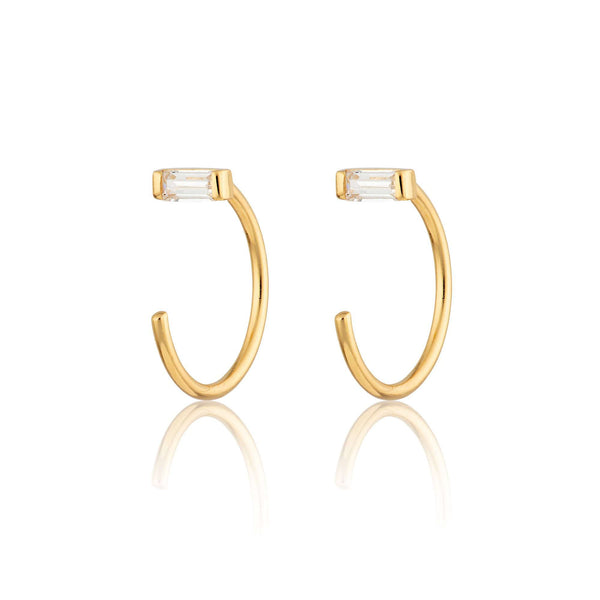 Reverse Baguette Open Hoop Huggie Earrings