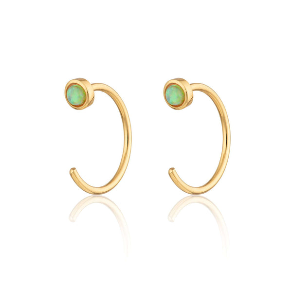 Reverse Green Opal Open Hoop Huggie Earrings