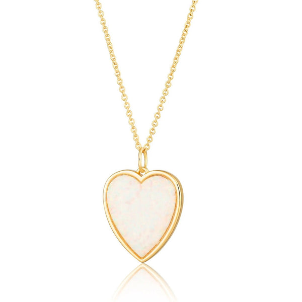 White Opal Heart Necklace with Slider Clasp