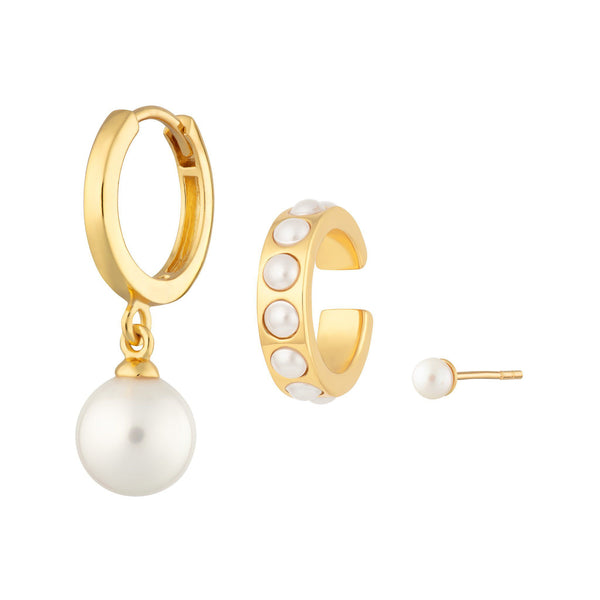 Gold Plated Pearl Ear Party by Scream Pretty