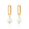 Hannah Martin Sparkle Oval Hoop Earrings with Baroque Pearls