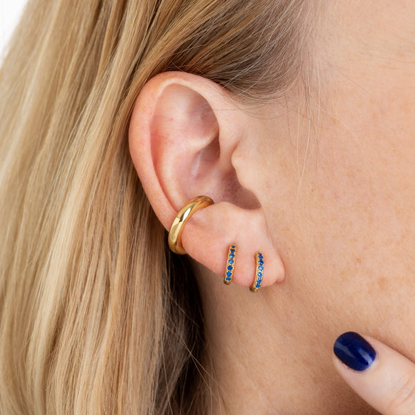 Huggie Hoop Earrings with Blue Stones - Scream Pretty
