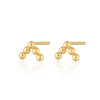 Gold Plated Solder Dot 5 Bead Stud Earrings by Scream Pretty