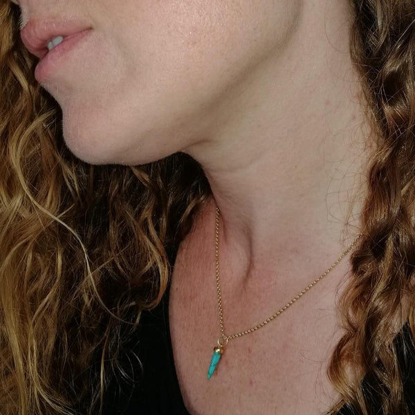 Turquoise Spike Necklace with Slider Clasp