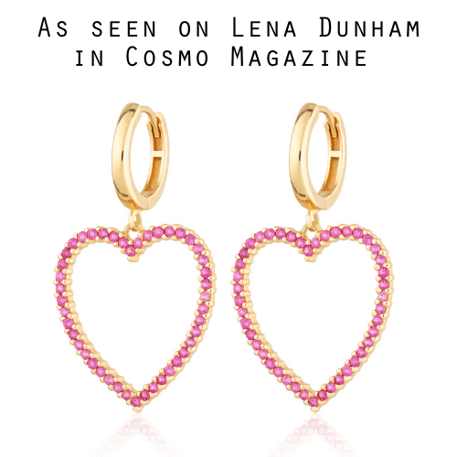 Pink Open Heart Hoop Earrings