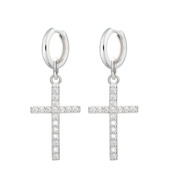 Sparkling Cross Huggie Hoop Earrings