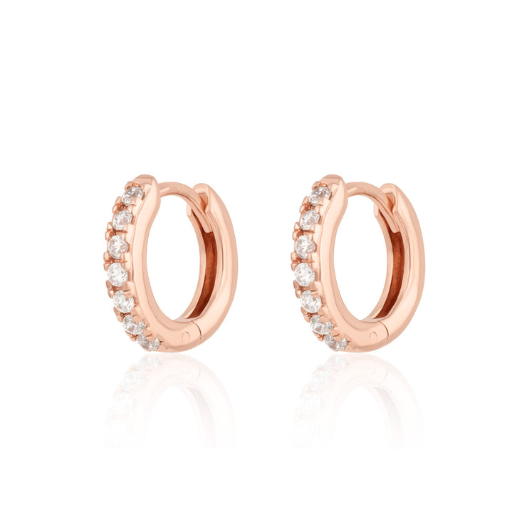 Rose Gold or Black Huggie Earrings