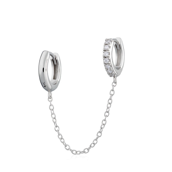 Chain Linked Mismatched Single Huggie Earring