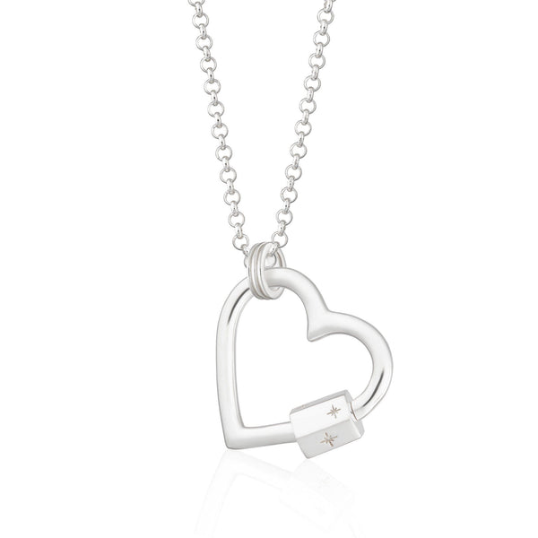 Silver Heart Carabiner Charm Collector Necklace by Scream Pretty