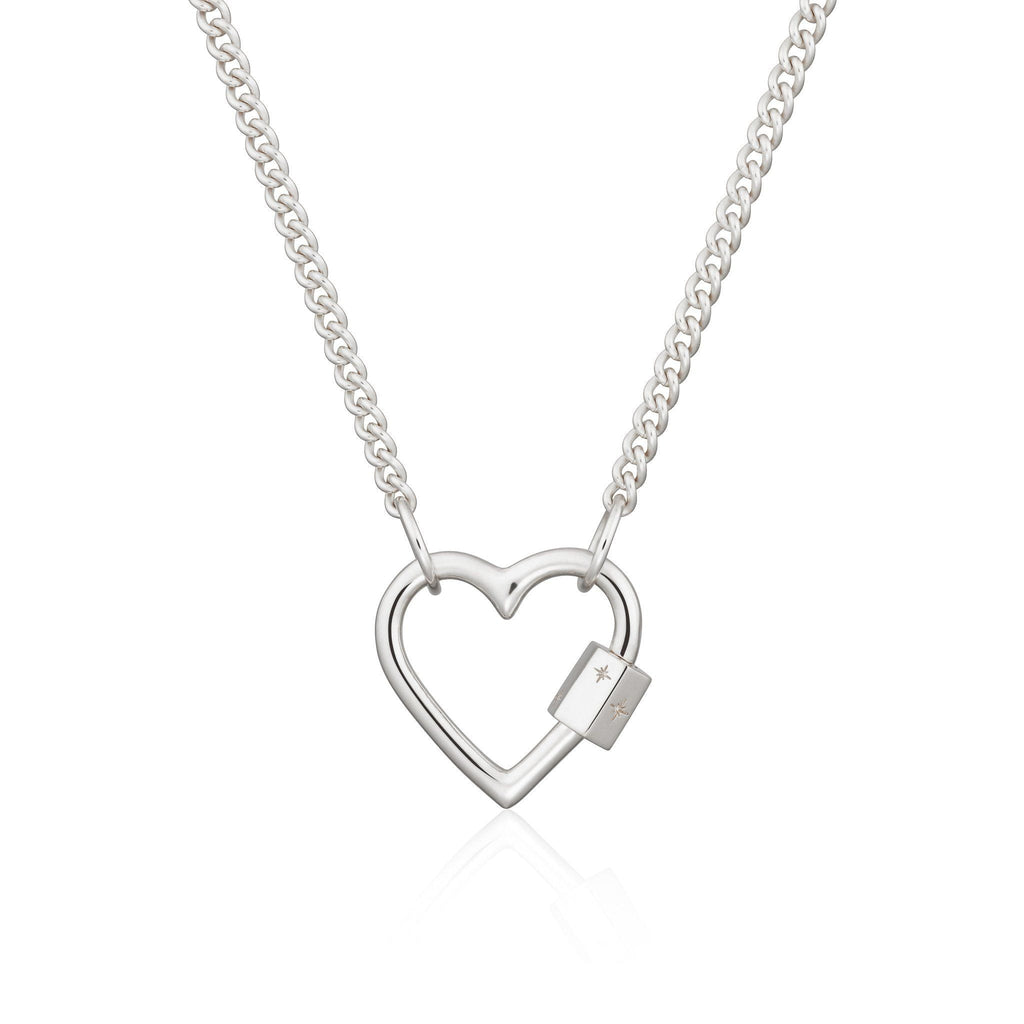Silver Heart Carabiner Curb Chain Necklace by Scream Pretty