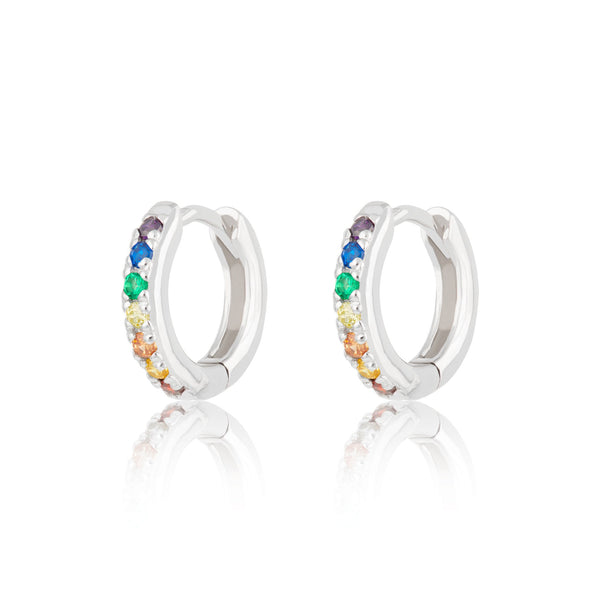 Huggie Hoop Earrings with Rainbow Stones