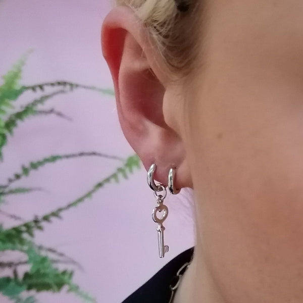 Key Single Huggie Earring