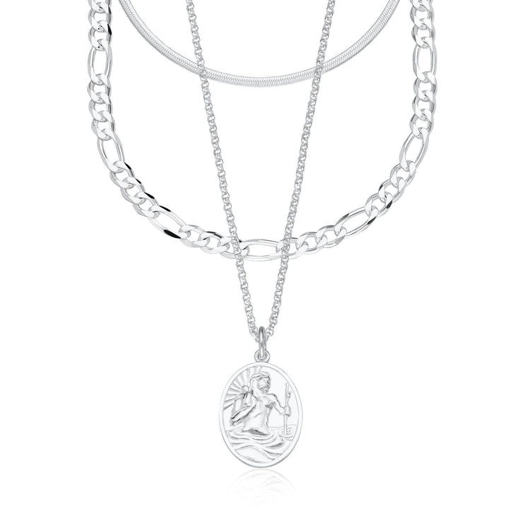 Layering Set, Mini Snake Chain, Figaro Chain, St Christopher Necklace Set by Scream Pretty