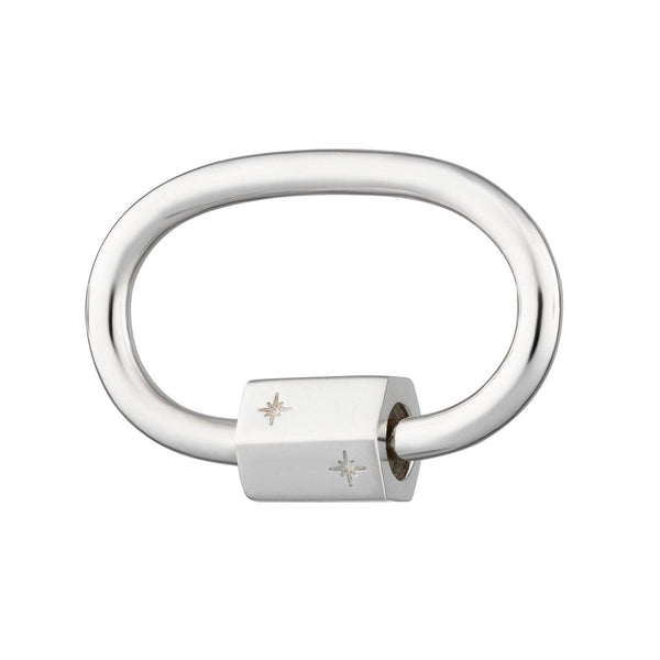 Silver Oval Carabiner Charm Lock by Scream Pretty
