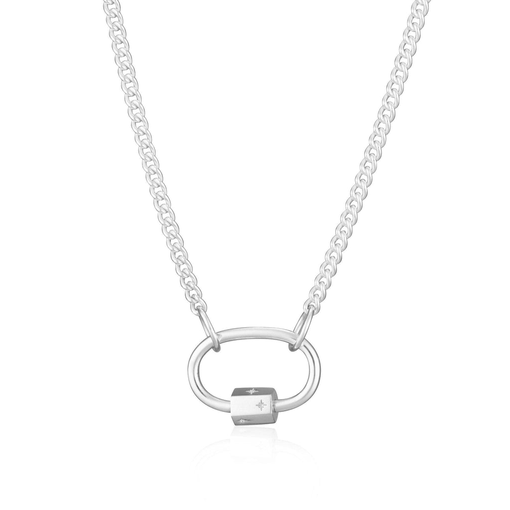Silver Oval Carabiner Curb Chain Necklace by Scream Pretty