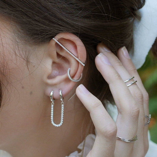 Sparkle Linked Single Huggie Earring