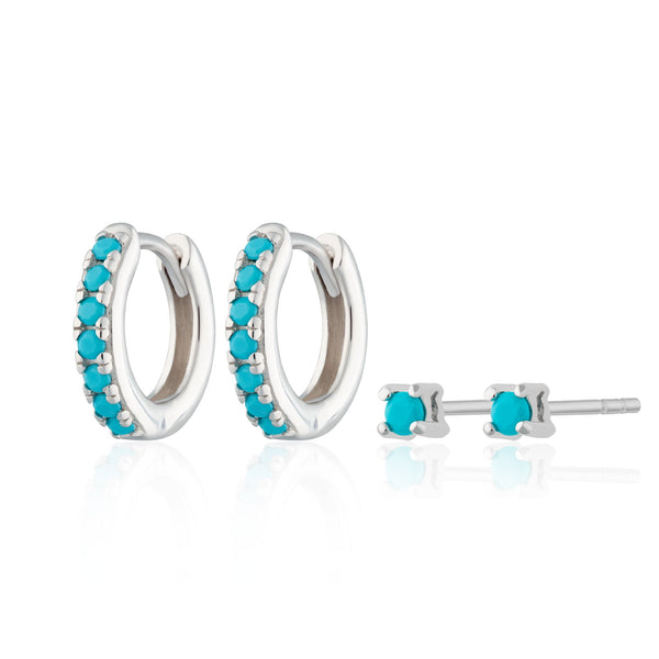 Turquoise Stone Huggie and Tiny Stud Set of Earrings