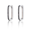 Oval Huggie Hoop Earrings with Black Stones - Scream Pretty