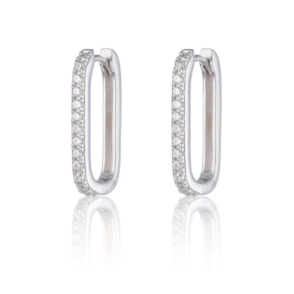 Oval Huggie Hoop Earrings with Clear Stones - Scream Pretty