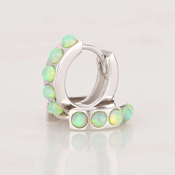Lime Green Opal Huggie Hoop Earrings