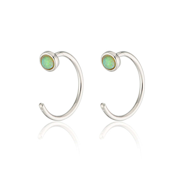 Reverse Green Opal Open Hoop Huggie Earrings - Scream Pretty