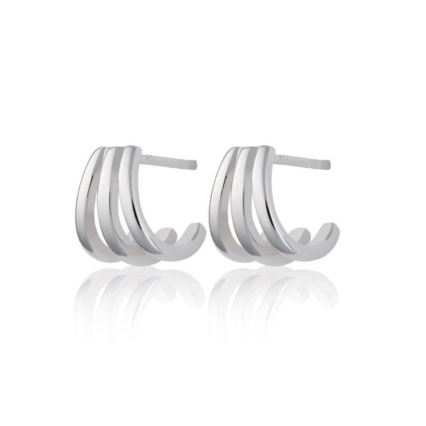 Triple Split Huggie Stud Earrings
