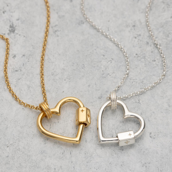 Silver and Gold Plated Heart Carabiner Charm Collector Necklace by Scream Pretty