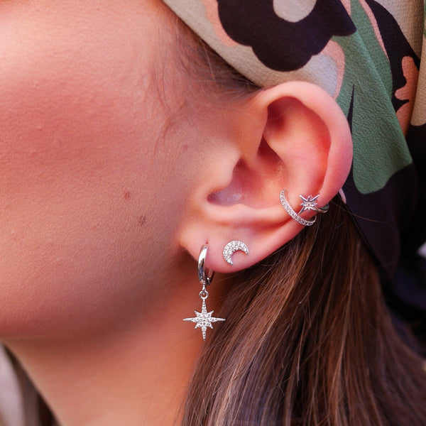 Star Double Band Small Single Ear Cuff