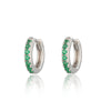 Huggie Hoop Earrings with Green Stones