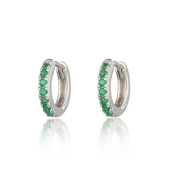 Earrings - Huggie Earrings with Green Stones