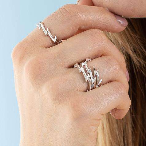 Silver Lightning Bolt Stacking Ring