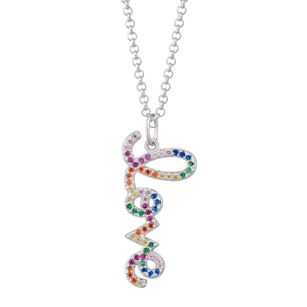 Rainbow Love Necklace with Slider Clasp