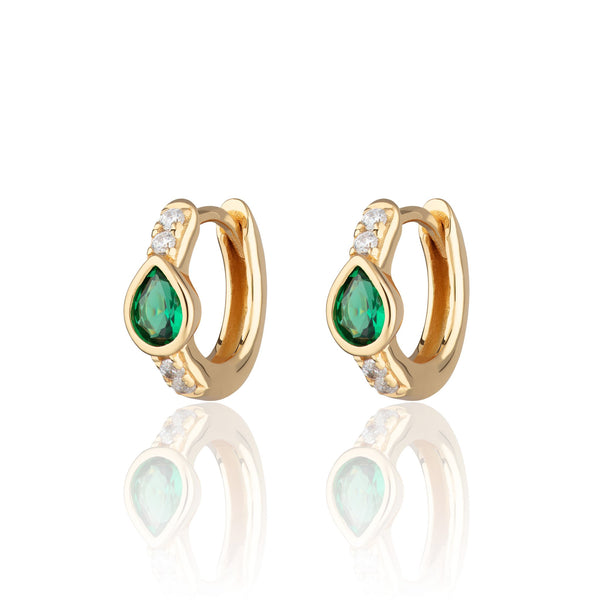 Green Teardrop Huggie Hoop Earrings