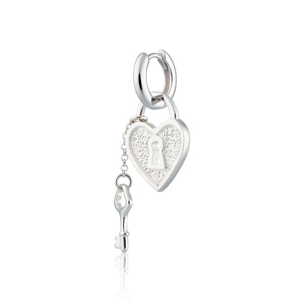 Heart Padlock and Key Single Huggie Earring