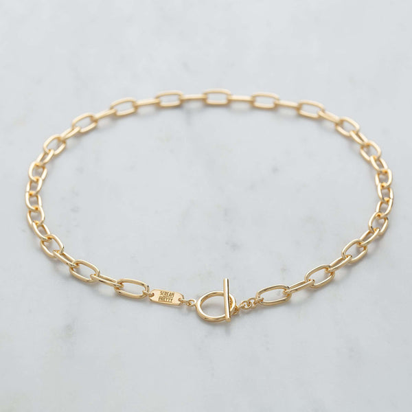 Choker - Oval Chain Choker With T-Bar Clasp