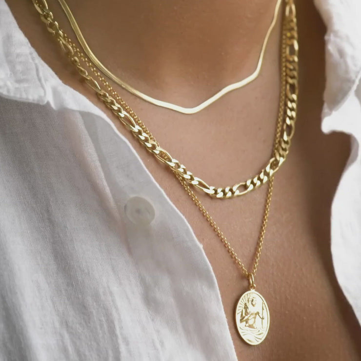 Layering Set - Mini Snake, Figaro and Long St Christopher Necklace