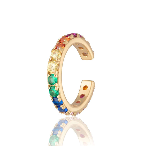 Ear Cuff - Rainbow Sparkling Ear Cuff, Single Ear Cuff