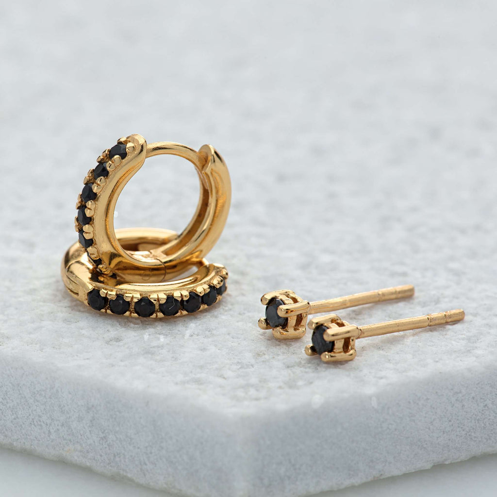 Earrings - Black Stone Huggie And Tiny Stud Set Of Earrings